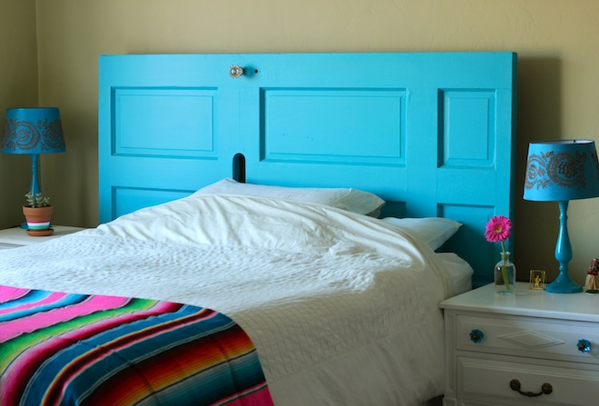 From front door to diy headboard my socal 39 d life for Cheap easy to make headboards