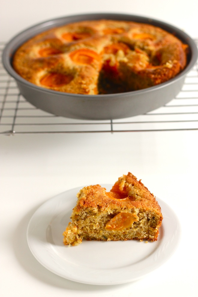 Pistachio cake with honeyed apricots (via My SoCal'd Life)