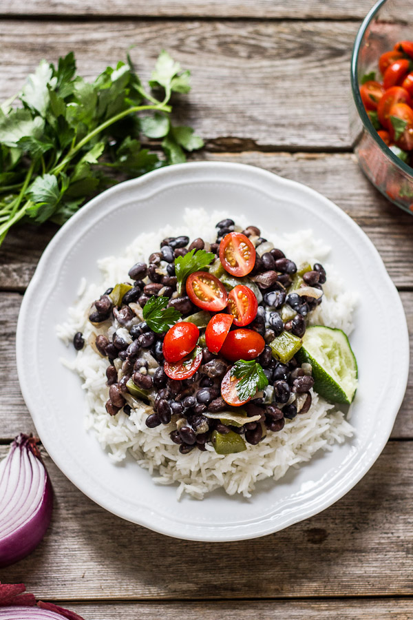 Cuban-style black beans with coconut cream rice