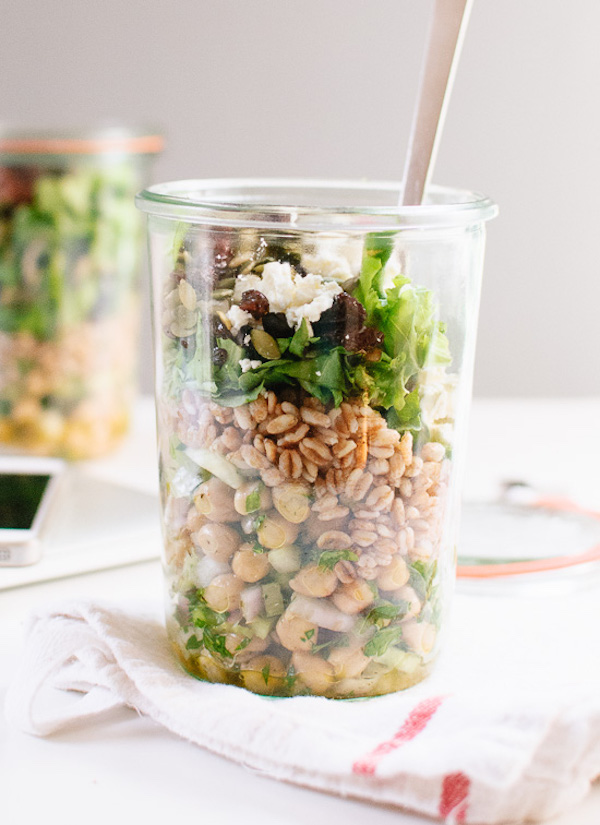 Mason Jar Salads via Cookie + Kate  (from 6 vegetarian  lunches to-go)
