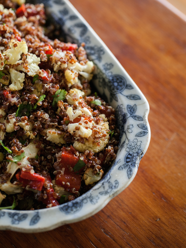 Caramelized cauliflower, red pepper and quinoa salad via Naturally Ella // from 6 vegetarian lunches to-go on My SoCal'd Life