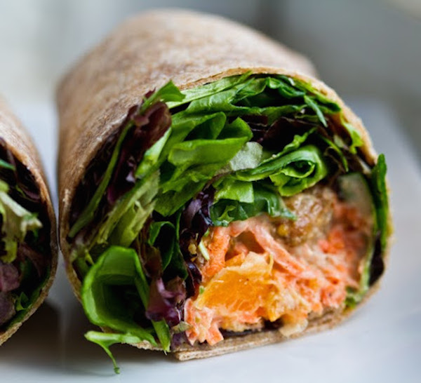Tempeh wrap via Happy Healthy Life // from 6 vegetarian lunches to-go on My SoCal'd Life